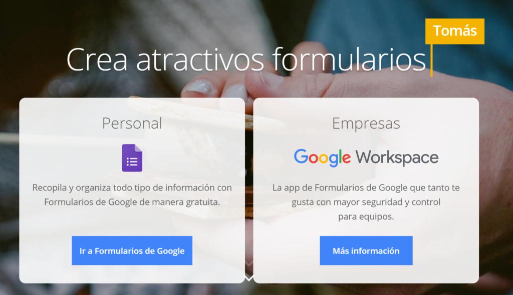 Formularios de contacto de google